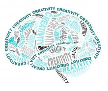 "A graphic of a brain, made up of the word ""creativity"" in different sizes."
