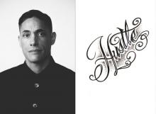 diptych of photo of David Tomas Martinez and cover of his book Hustle