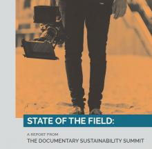 report cover with lower half of a camera man holding a camera
