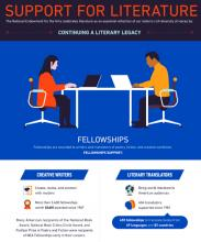 Graphic of two people sitting at laptops and information about the number of Literature Fellowships