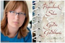 Collage of Goldie Goldbloom's author photo with bookcover of The Paperbark Show