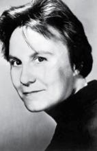 black and white photo of Harper Lee