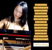 photo of Helen Sung at the piano with her quote