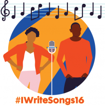 Image of Boy and Girl with Microphone and text #iwritesongs16