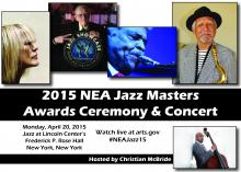 Headshots of 2015 NEA Jazz Masters and headshot of Christian McBride