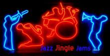 Jazz figures in neon lights.