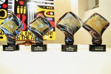 photo of four trophies presented to the 2019 NEA Jazz Masters