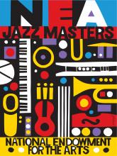 NEA Jazz Masters colorful logo with various shapes and colors.