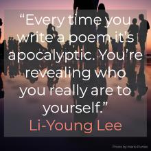 a mirror image of a crowd of people with the quote by Li Young Lee on it