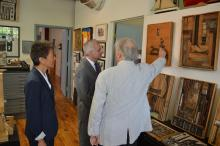Senator Reed, NEA Chairman Jane Chu, and artist Morris Nathanson, who is showing his work.