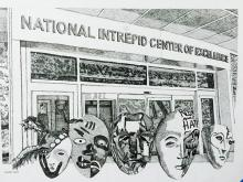 Pencil sketch of the front of the NICOE building with masks drawn in front