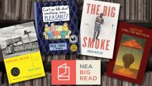images of the book covers for the four new titles and the NEA Big Read logo.