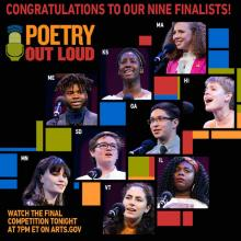 collage of photos of nine poetry out loud finalists