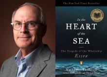 diptych of Nathaniel Philbrick author shot and cover of In the Heart of the Sea