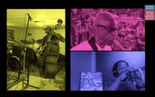 screen shot from 2020 NEA Jazz Masters Virtual Tribute Concert with three squares tinted in different colors