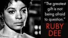 black and white publicity photo of Ruby Dee with quote