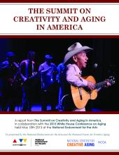 Cover of a research report, an image of an older man on stage playing guitar.