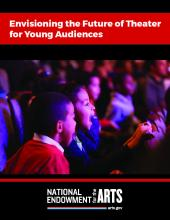 Report cover for Envisioning the Future of Theater for Young Audiences showing two children pointing excitedly towards a stage.