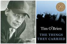 diptych of Tim O'Brien headshot with cover of The Things They Carried