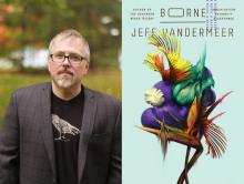diptych of Jeff VanderMeer author photo and cover of his novel Borne