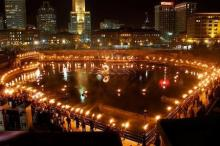night photo of Waterfire festival