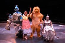 Four disabled performers dressed as Wizard of Oz characters