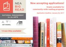 Pictures of book jackets for NEA Big Read books with text about application deadline.