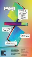 The official poster for the National Book Festival showing three colorful books balanced atop each other