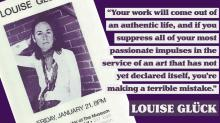 Poster featuring Louise Gluck with text of quote