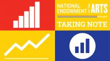 A pictogram of graphs and charts and the words National Endowment for the Arts Taking Note