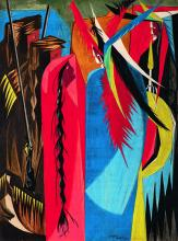 Detail from brightly colored painting wth highly stylized representations of pioneers encountering native americans