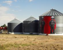art on side of silo