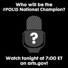"Black/white graphic of blank face with question mark + ""who will be the pol15 national champ?"""
