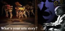 "collage of a basket, a group of dancers, and a man at a piano with the text ""What's your arts story?"""