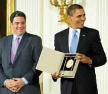 Dean David Stull accepting the 2009 National Medal of Arts from President Obama on behalf of the Oberlin Conservatory of Music. Photo by Richard Frasier