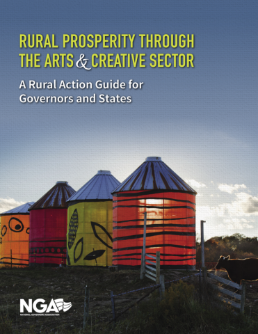 Research report cover about rural prosperity through the arts showing colorful painted silos