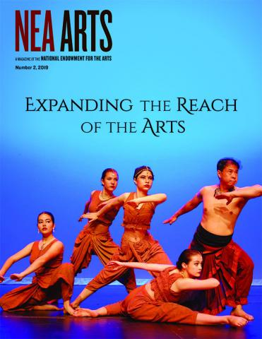 Classical Indian dancers perform on the cover of NEA Arts magazine