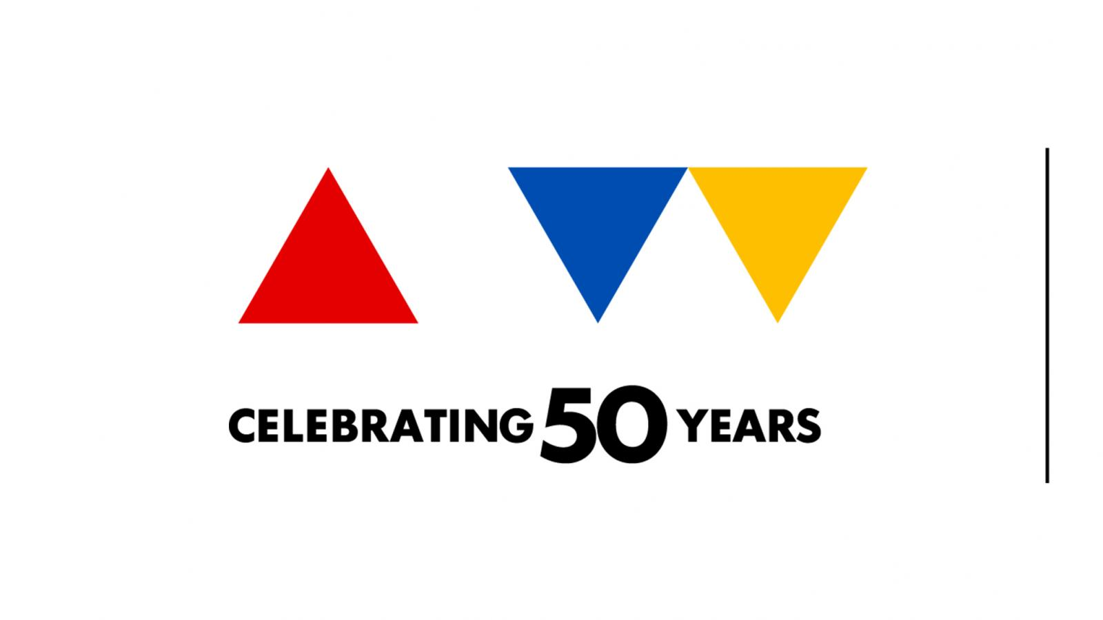 NEA logo with triangles