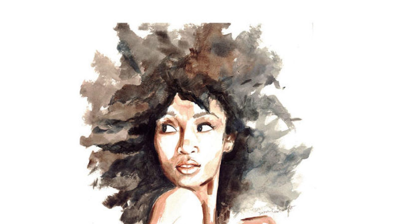 Watercolor of beautiful black woman