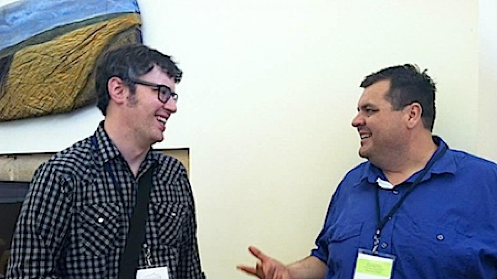 Matthew Fluharty (left) with Michael Strand at the June 2013 Rural Arts and Culture Summit. Photo by Michele Anderson