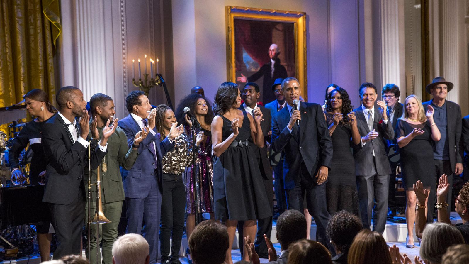 President Obama on stage at the White House with musical performers.