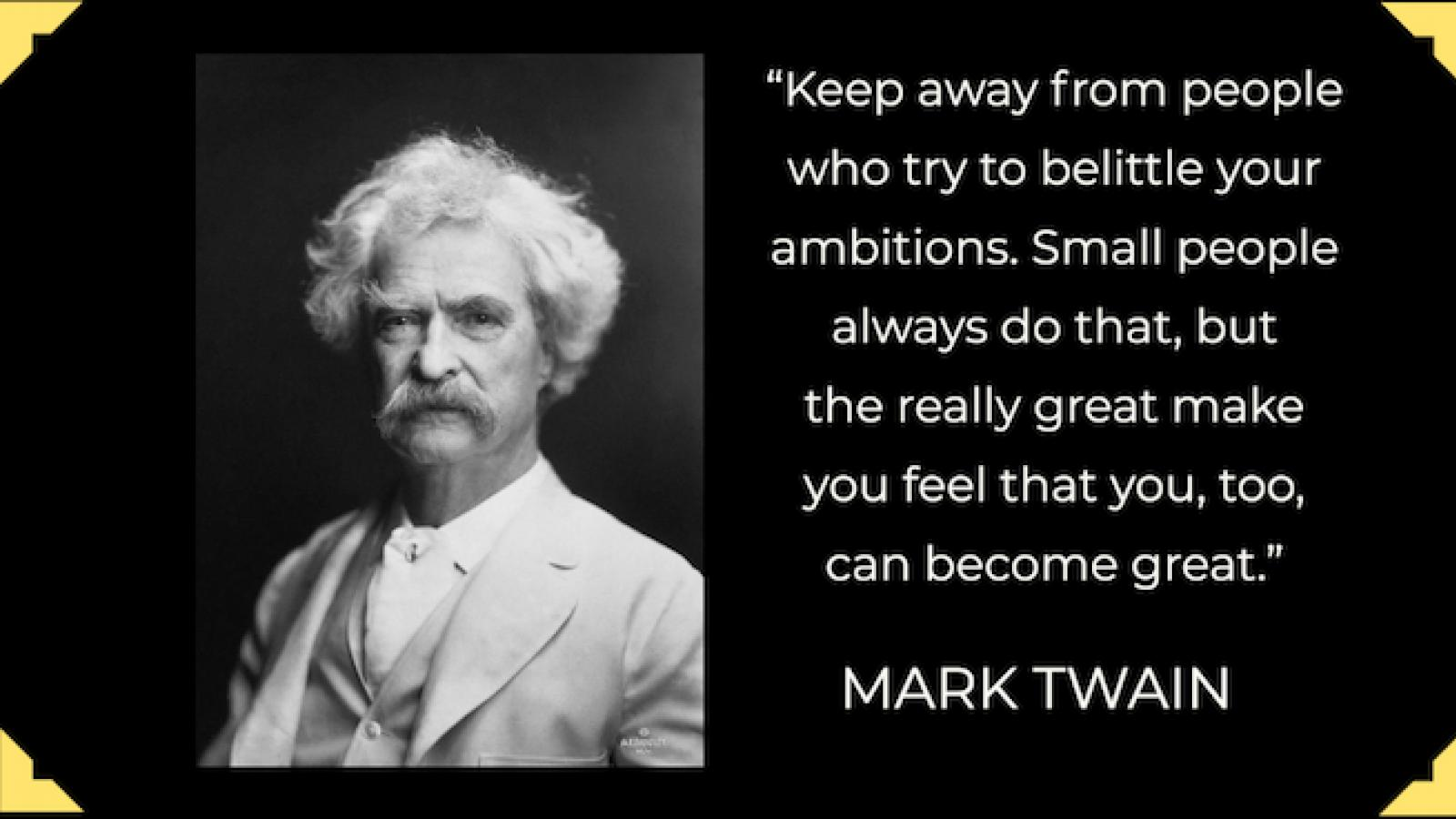 photo of Mark Twain with quote