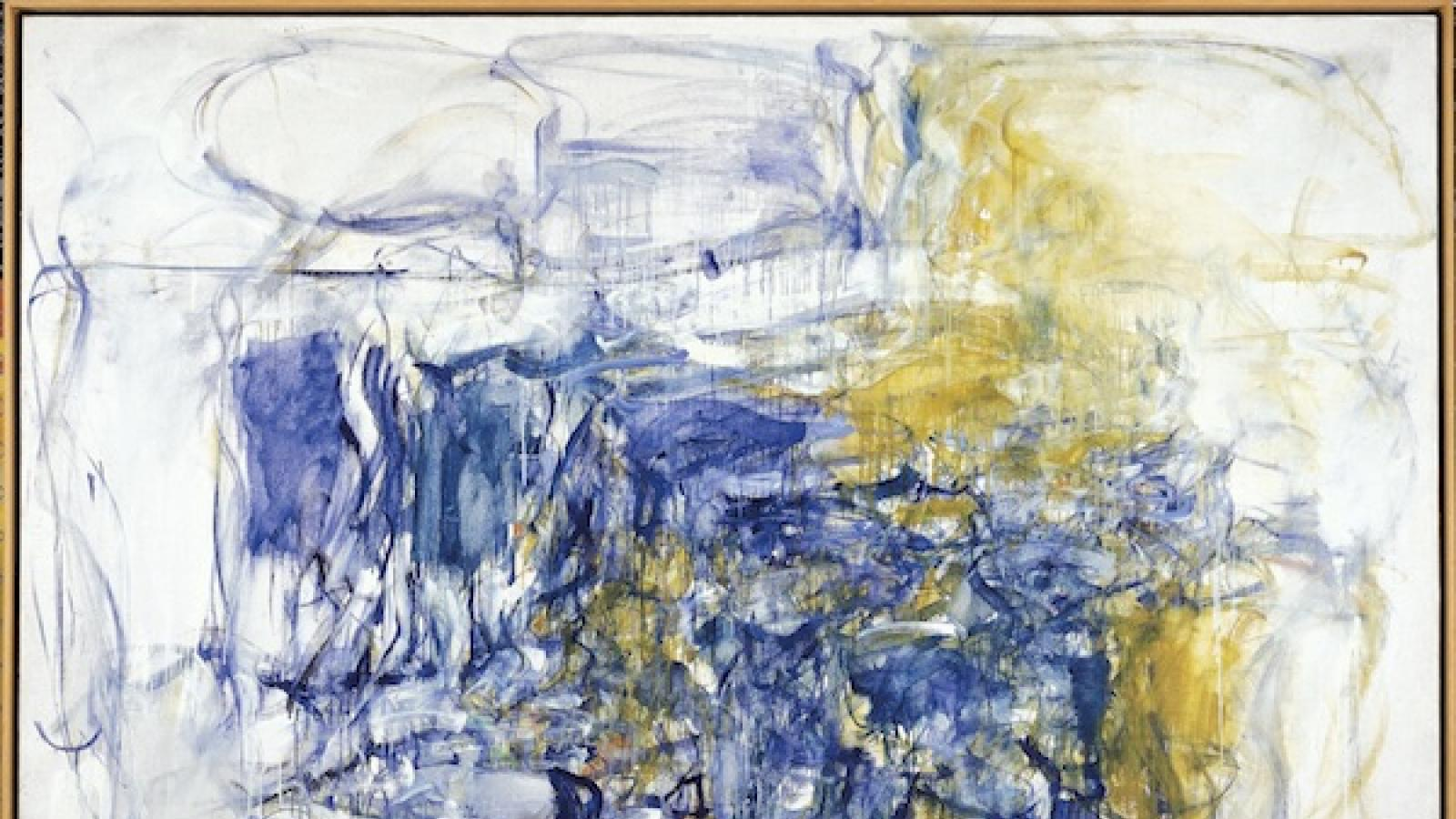 abstract expressionist work by joan mitchel in blue, white, and mustard tones