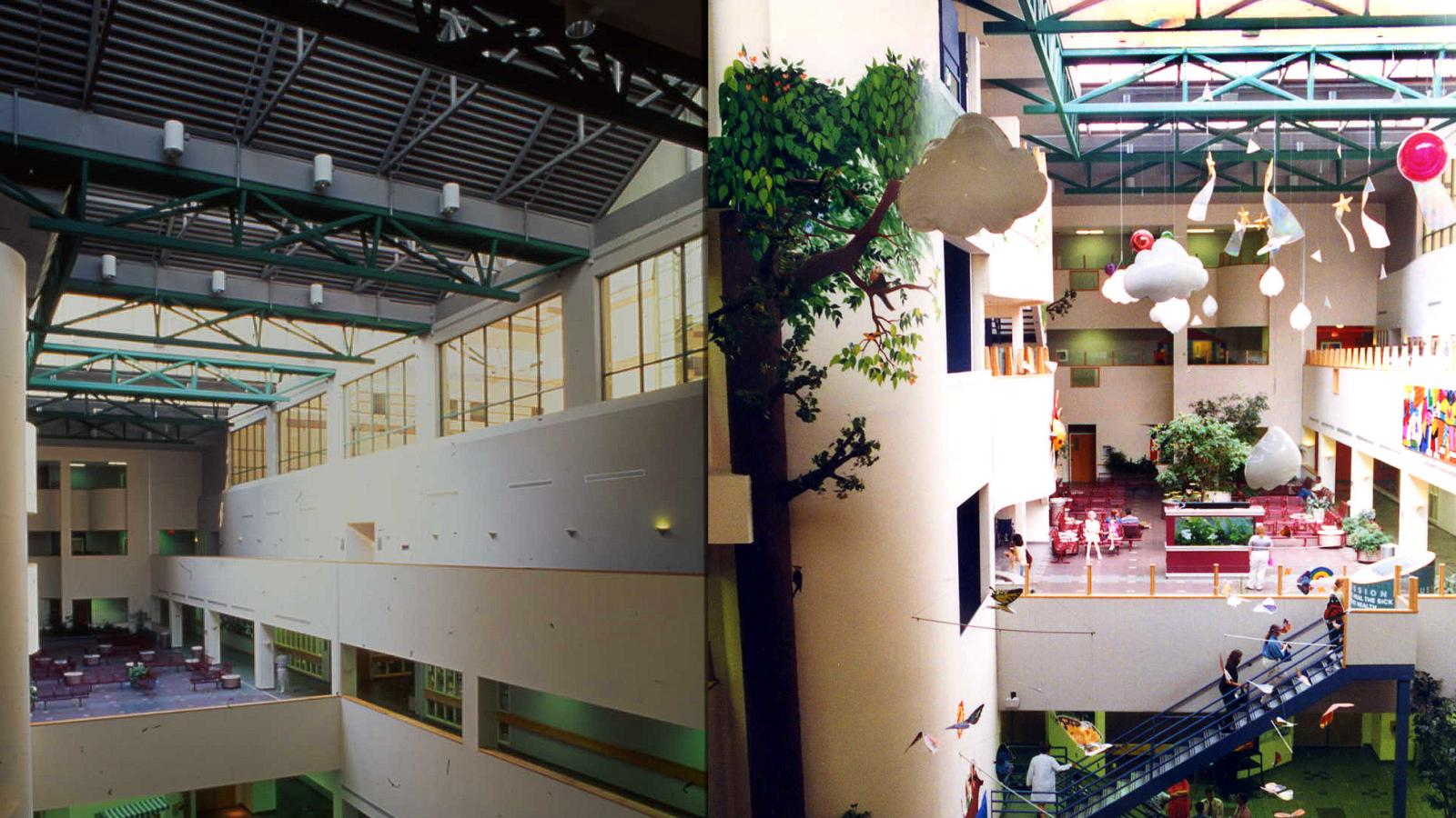 Two photos of a section of the hospital before and after redesign.
