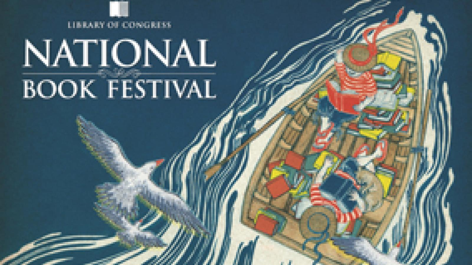 Festival poster with two people in a boat surrounded by books with birds flying above