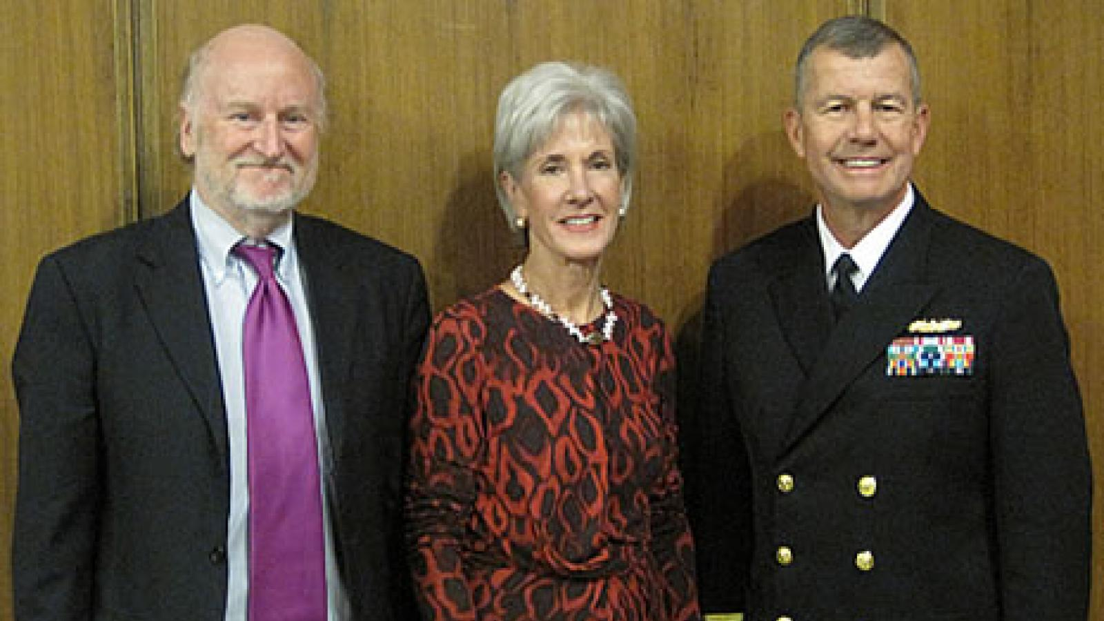 NEA Chairman Rocco Landesman, Health and Human Services Secretary Kathleen Sebelius, and Rear Admiral Alton L. Stocks, Commander, Walter Reed National Military Medical Center Bethesda, were at The John F. Kennedy Center For The Performing Arts to announce