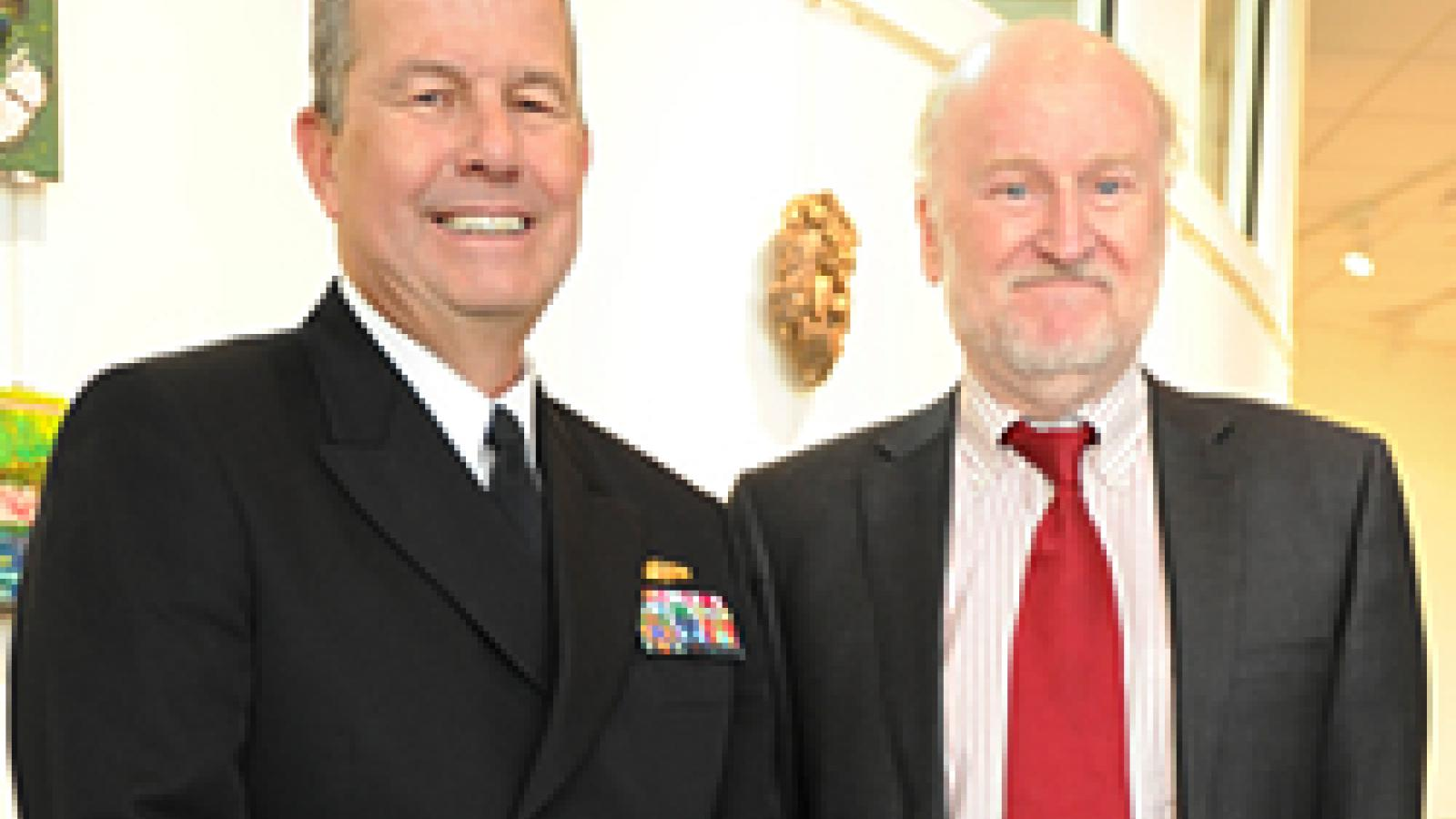 Rear Admiral Alton L. Stocks, Commander of Walter Reed National Military Medical Center, and NEA Chairman Rocco Landesman