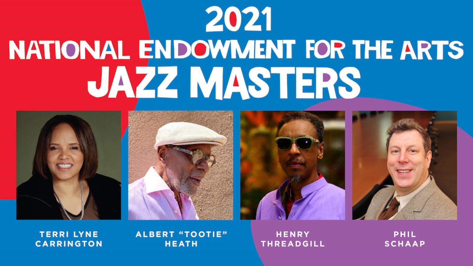 a collage of photos of the 2021 NEA Jazz Masters
