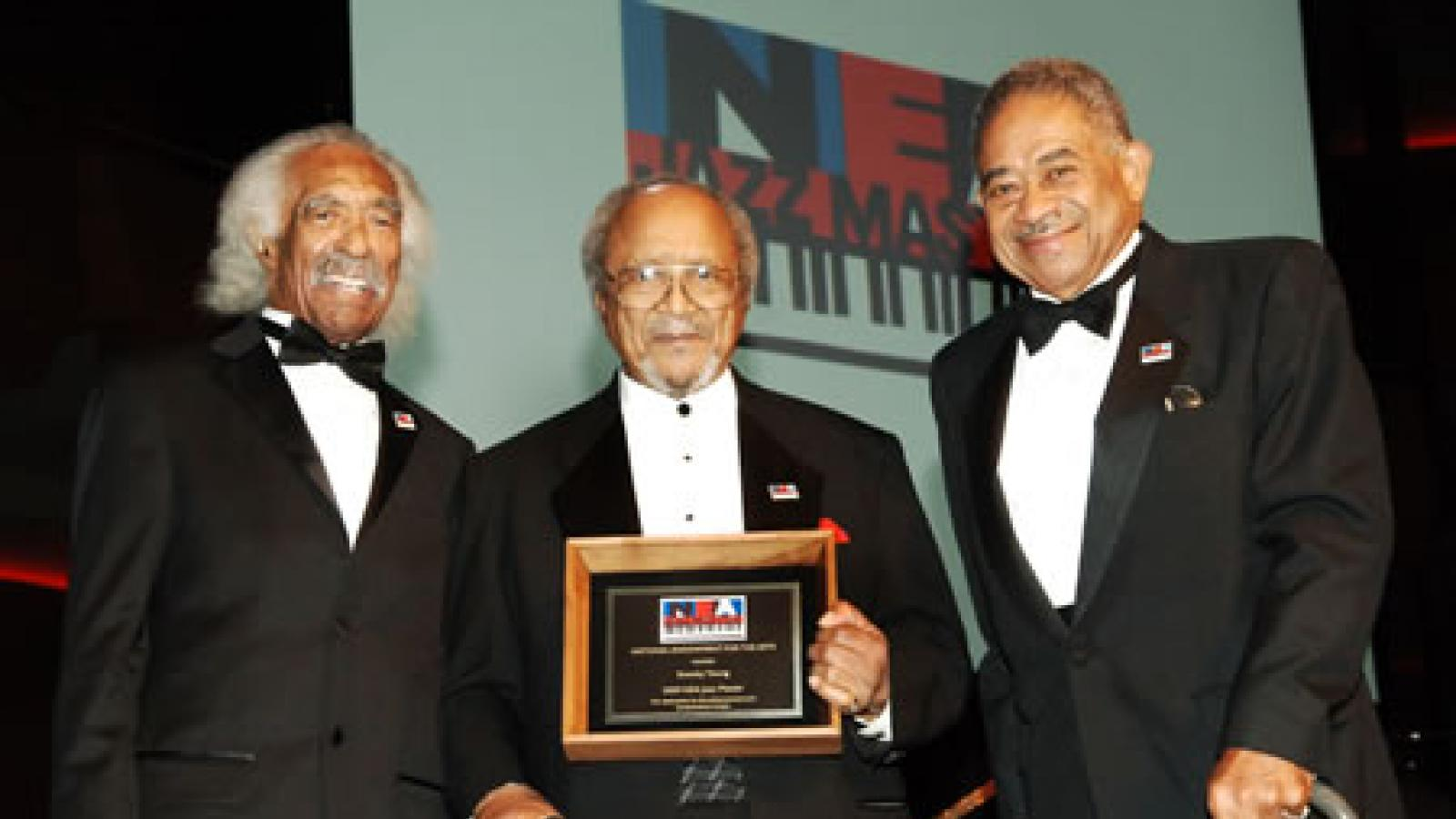 "2009 NEA Jazz Master Eugene Edward ""Snooky"" Young is presented with his award by friends and fellow NEA Jazz Masters Gerald Wilson and Frank Wess. Photo by Tom Pich"