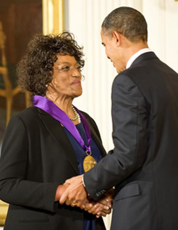 2009 National Medal of Arts recipient and soprano Jessye Norman receives her medal from President Barack Obama